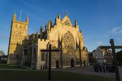 Facade of the Exeter Cathedral, Devon, England, United Kingdom. Facade and square tower of the Exeter Cathedral, Devon, England, United Kingdom royalty free stock photos