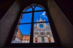 Facade Exterior Towers Mosaics Cathedral Church Siena Italy royalty free stock photo
