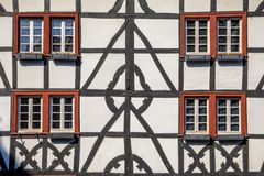 Facade of Fachwerk building style. Facade of Fachwerk medievel building style in Monschau, Eifel Germany royalty free stock photography