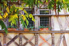 Facade of fachwerk house. Saint-Brieuc, Brittany, France Stock Images