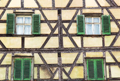 Facade of fachwerk medieval house. In Bamberg, Germany Stock Image