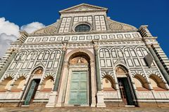 Basilica of Santa Maria Novella - Firenze Italy. Facade of the famous Basilica of Santa Maria Novella in white marble and green serpentine in Florence, UNESCO royalty free stock images