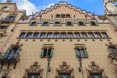 Facade of the famous Casa Amatller, building designed by Antoni. Barcelona, Spain - October 21, 2013: Facade of the famous Casa Amatller, building designed by royalty free stock images