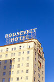 Facade of famous historic Roosevelt Hotel in Hollywood Royalty Free Stock Image