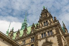 Facade of the famous Rathaus (City Hall) in Hamburg, Germany Stock Image