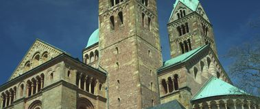 Bell tower front of the Speyer Cathedral, famous UNESCO world heritage site. Facade of the famous UNESCO World Heritage Site Speyer Cathedral, Speyer, Germany stock footage