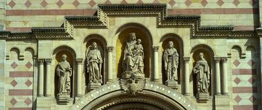 The Speyer Cathedral, famous UNESCO world heritage site, detail view. Facade of the famous UNESCO World Heritage Site Speyer Cathedral, Speyer, Germany, Jun 2017 stock footage
