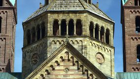 The Speyer Cathedral, famous UNESCO world heritage site, detail view. Facade of the famous UNESCO World Heritage Site Speyer Cathedral, Speyer, Germany, Jun 2017 stock video