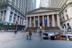 Facade of the Federal Hall with Washington Statue on the front, wall street, Manhattan, New York City. Manhattan, New York City - May 10, 2018 : Facade of the stock photo