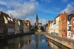 Facade of flemish houses in Brugge Royalty Free Stock Images