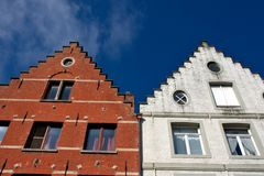 Facade of Flemish Houses in Brugge Stock Photography