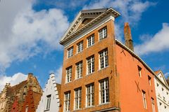 Facade of flemish houses in Brugge Stock Photos