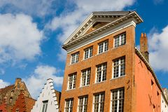 Facade of Flemish Houses in Brugge Stock Image