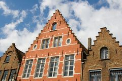 Facade of flemish houses in Brugge Royalty Free Stock Photo
