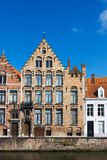 Facade of flemish houses and canal Stock Photo