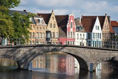 Facade of flemish houses and canal in Brugge Royalty Free Stock Photography