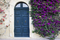 Facade with flowers stock image