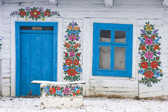 Facade with a folk decoration royalty free stock images