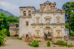 Facade of the former El Carmen church. Antigua Guatemala Stock Image