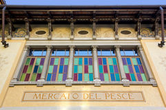 Facade of Former Fish Market In Udine Stock Images