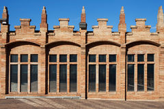 Modernist factory. Facade of the former textile factory Casaramona in modernist style built in 1912 by Josep Puig i Cadafalch in Barcelona, Spain royalty free stock photo