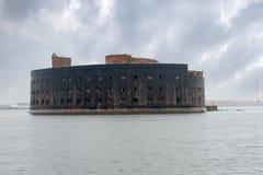 The facade of the Fort Emperor Alexander I. The facade of the Fort `Emperor Alexander I` the Plague closeup. Gulf of Finland, Kronstadt Stock Photos