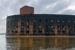 Fort Emperor Alexander I. The facade of the Fort `Emperor Alexander I` the Plague closeup. Gulf of Finland, Kronstadt Stock Image