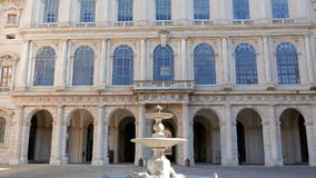 Facade and fountain. Palazzo Barberini, Rome, Ita stock video