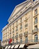 Facade of the Four Seasons Hotel des Bergues in Geneva. Geneva, Switzerland - 24 September, 2016: facade of the Four Seasons Hotel des Bergues building. Hotel stock photos