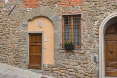 Facade fragment of typical Italian house, Tuscany, Italy. The view of typical Italian house facade fragment, Montecatini Alto, Tuscany, Italy royalty free stock photos