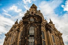Facade of Frauenkirche Our Lady church in Dresden, Germany royalty free stock image