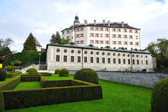 Facade and garden of famous and historic Ambras Castle Stock Image