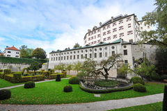 Facade and garden of famous and historic Ambras Castle Stock Photography