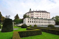 Facade and garden of famous and historic Ambras Castle Stock Photo