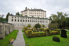 Facade and garden of famous and historic Ambras Castle Stock Images