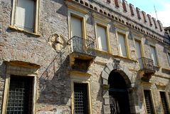 Facade with gate of the palace entrance Zabarella in Padua in Veneto (Italy) Royalty Free Stock Images