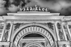 Facade of the General Staff Building, St. Petersburg, Russia Royalty Free Stock Photos