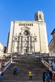 Facade of Girona Cathedral, also known as the Cathedral of Saint Mary of Girona stock photo
