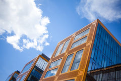 Facade of glass office building, the view from bottom up Royalty Free Stock Photography