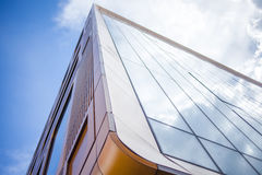 Facade of glass office building, the view from bottom up Royalty Free Stock Images