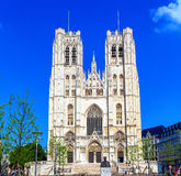 Facade of Gothic Carhedral, Brussels Royalty Free Stock Image