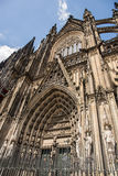 Facade of the Gothic Cathedral above the main door, Cologne, Royalty Free Stock Images