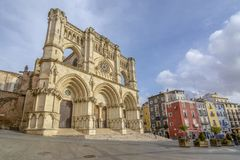Facade of the Gothic Cathedral of Cuenca. In Castilla la Mancha Spain Stock Photography
