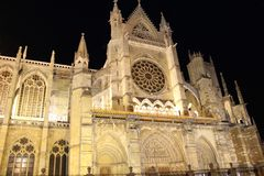Cathedral of Leon, Spain. Facade of Gothic cathedral of Leon, Castilla Leon, Spain. Leon Cathedral, one of the great works of the Gothic style with French Stock Photo