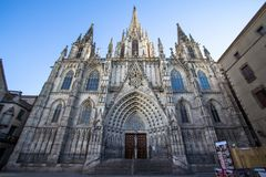 Gothic Catholic Cathedral in Barcelona Stock Photo