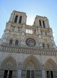 Facade of the gothic church of Notre Dame in Paris stock photos