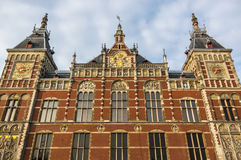 The facade of Grand Central Station in Amsterdam. Lit by the evening sun Royalty Free Stock Image