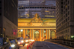 Facade of Grand Central Terminal at twilight in New York. USA Stock Photo