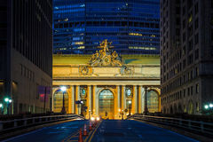 Facade of Grand Central Terminal at twilight in New York. USA Stock Image