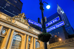 Facade of Grand Central Terminal at twilight in New York. USA Stock Photography